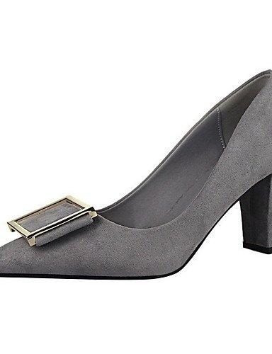 GGX/ Damen-High Heels-Lässig-Kunststoff-Blockabsatz-Absätze / Spitzschuh / Geschlossene Zehe-Schwarz / Rot / Grau black-us5 / eu35 / uk3 / cn34