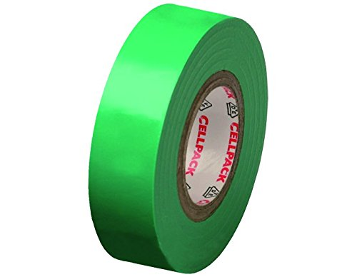 Cellpack No. 128 PVC Electrical Insulation Tape, Dimensions 10  m x 19  mm x 0.15  mm (Length x Width x Thickness), Green Dimensions 10 m x 19 mm x 0.15 mm (Length x Width x Thickness) 145814