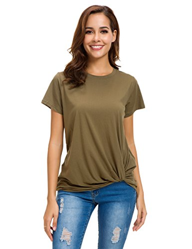 LUSMAY Womens Short Sleeve Loose Twist Knot Front T Shirts Cotton Casual Blouse - Cotton T-shirt Sheer
