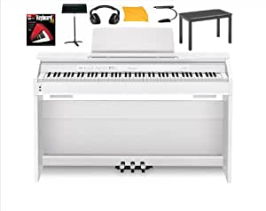 Casio Px850 White Digital Piano Bundle with Casio Cb7bk Furniture Style Bench, Standard Headphones, Mighty Bright Music Stand Light, Heavy Duty Music Stand, Hal Leonard Instructional Book and Polishing Cloth