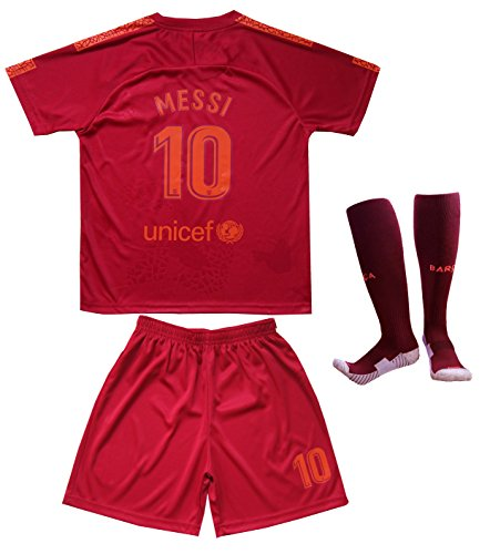 Messi Barcelona Shirt - Da Games Youth Sportswear Barcelona Messi 10 Kids Third Soccer Jersey/Shorts Football Socks Set (10-11 YRS OLD, Third)