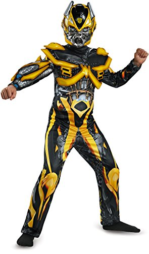 Disguise Hasbro Transformers Age of Extinction Movie Bumblebee Deluxe Boys Costume, Medium/7-8 (Halloween Bumble Bee Costume)