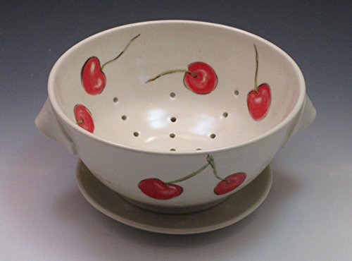 Cherry Design Colander - Porcelain Berry Bowl/Colander with Saucer, Handpainted with Cherry Design