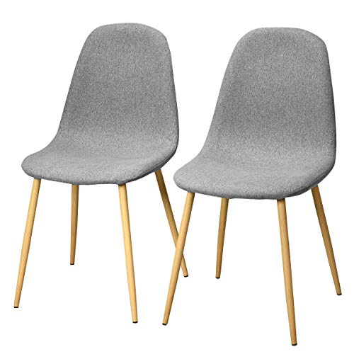 (Giantex Dining Side Chairs Set of 2 Sturdy Metal Legs Wood Look Fabric Cushion Seat Back Home Dining Room Furniture Chairs Set, Gray)