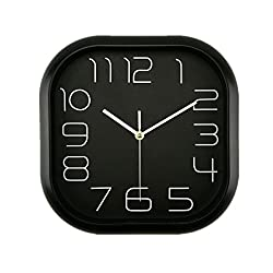 Foxtop 12 inch Classical Black Wall Clock, Large Square Silent Wall Clock with Non-ticking Sweep Movement