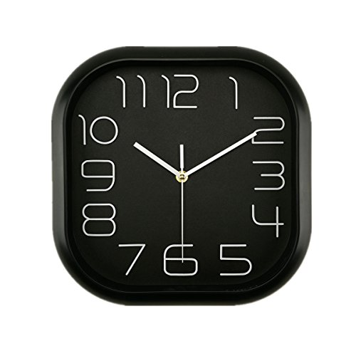 Foxtop 12 inch Classical Black Wall Clock, Large Square Silent Wall Clock with Non-ticking Sweep - 12 Inch Square Clock Wall