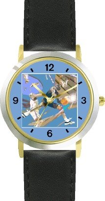 High Action Basketball Art No.5 Basketball Theme - WATCHBUDDY DELUXE TWO-TONE THEME WATCH - Arabic Numbers - Black Leather Strap-Women's Size-Small by WatchBuddy