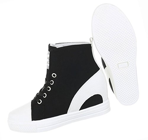 Damen Schuhe Freizeitschuhe Keil Wedges Sneakers Turnschuhe Schwarz Schwarz