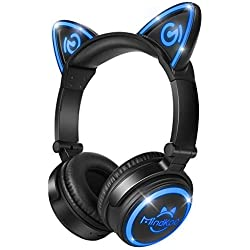 Cat Ear Headphones Wireless,MindKoo MH-6 Bluetooth V4.2(Patented Exclusive Design) with mic Earphones LED Flashing Glowing Cosplay Fancy Foldable Gaming Headsets for Kids,Girls,Children