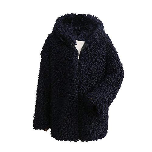 sintética con Chaqueta de larga capucha invierno con Chaqueta de Blue Desgastar de Outwear piel Deep manga abrigo de cremallera de de Rcdxing mujer piel gruesa felpa con Ropa 6vq5O