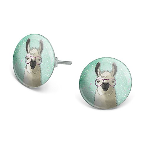 GRAPHICS & MORE Hip Llama with Glasses Novelty Silver Plated Stud -