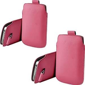 ONX3 Twin Pack HTC Rhyme Light Pink PU de cuero protector lengüeta del tirón la bolsa de la cubierta de la piel