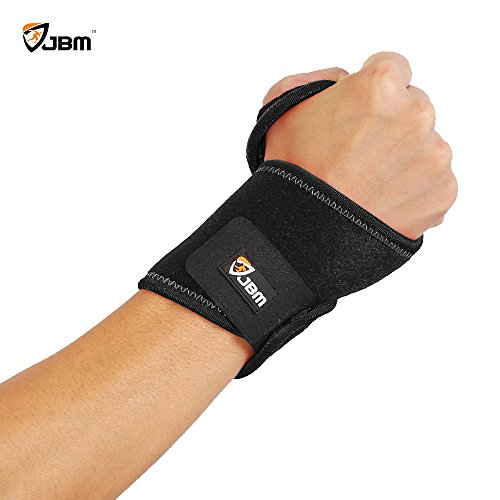 JBM Wrist Support Brace Wrap Carpal Tunnel Brace Right & Left Hand Reversible Pain Relief Adjustable Elastic for Fitness Exercise Weightlifting GYM - Adult (Black) (Black, Adult)