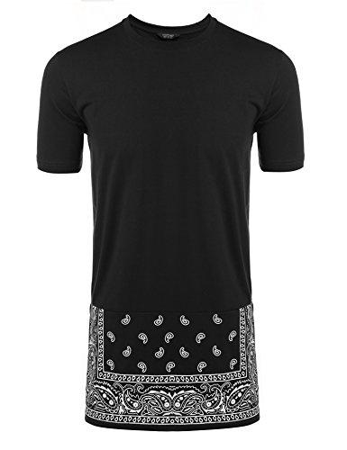 Coofandy Mens Hipster Hip-hop Long Street T-shirt, Black, - Men Black Hipster
