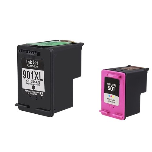 2 Pack of Remanufactured Ink Cartridges for HP 901XL (CC654AN), HP 901 (CC656AN) - 1 Black, 1 Color
