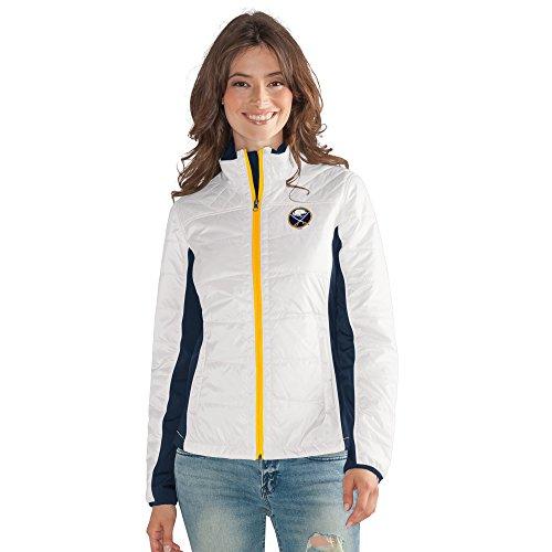 GIII For Her NHL Buffalo Sabres Women's Grand Slam Full Zip Jacket, Medium, White ()
