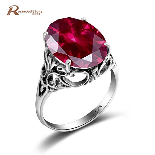 Russian Charm Birthstone Created Ruby Rings | Crystal Sterling Sliver Engagement Ring | Vintage Jewelry | Cocktail Ring for Women
