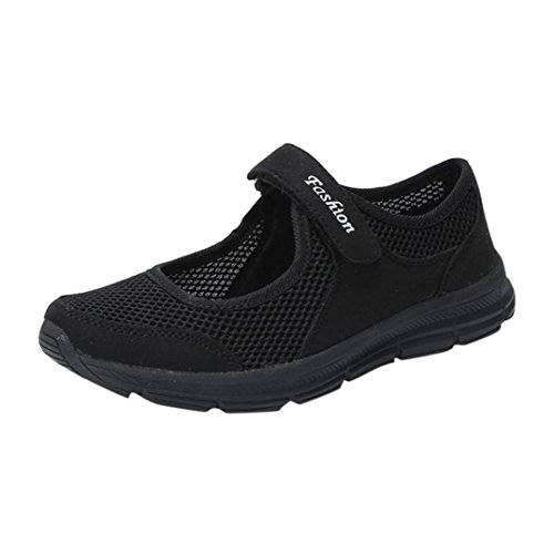 Womens Anti Slip Running Shoes,Summer Lightweight Mesh Sports Athletic Sneakers (Black, ()