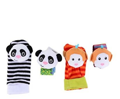 thitiwat 4 pcs/lot Cute Baby Infant Toy Soft Handbells Hand Wrist Strap Rattles/Animal Baby Socks Foot Finders Developmental - Sunglasses Solo Cheap