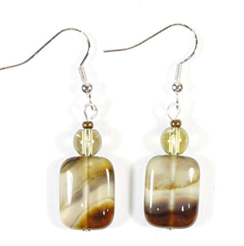 Brown Banded Agate - ARThouse Desert Wind Banded Agate Natural Stone Earrings, 1.2 Inches