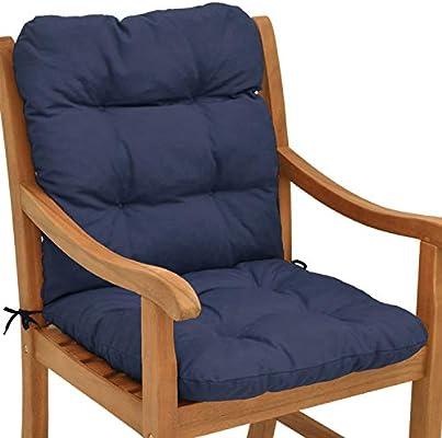 Beautissu Flair NL Cojín para sillas/Asiento Exterior con Respaldo bajo 100x50x8 cm - Relleno de Copos de gomaespuma - Azul Oscuro