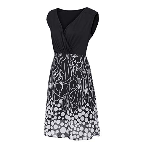 Women's Sleeveless V-Neckline Lace Top Plus Size Cocktail Party Pots Printed Swing Dress (XL, Black) by Twinsmall (Image #4)