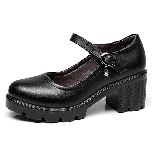 35 Pompe Tacco 39 taglia medio basso a caviglia lavoro alla con Piattaforma cinturino Scarpe tacco donna Mary Black Jane pelle ga6gwSq