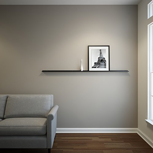 Metal Floating Ledge, Picture, Photo and Art Display, Modern Shelf 5Ft Long by 2 In Wide (5FTB20IN, Black)