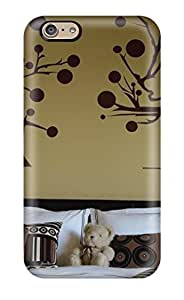 6 Scratch-proof Protection Case Cover For Iphone/ Hot Beige Kids Room With White Linens And Brown Pillows With Applique Wall Art Phone Case