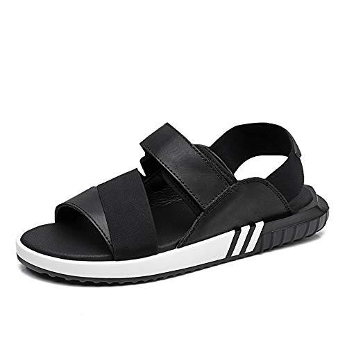Noir 46 EU Mode d'été en plein air sandales pour hommes ou femmes confortable doux PU chaussures de plage en cuir anti-slip plat rond boucle ouverte Chaussures de cricket ( Couleur   Noir , Taille   46 EU )
