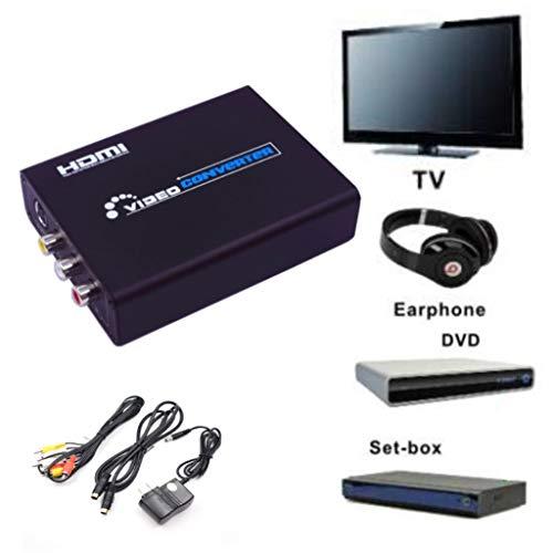 (❤️Jonerytime❤️ Video to HD AV S-Video to HDMI Video Converter RCA to Digital Signal Converter Silver)