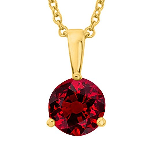 1 1/2 1.5 Carat 14K Yellow Gold Round Ruby 3 Prong Solitaire Pendant Necklace (AAA Quality) W/ 16