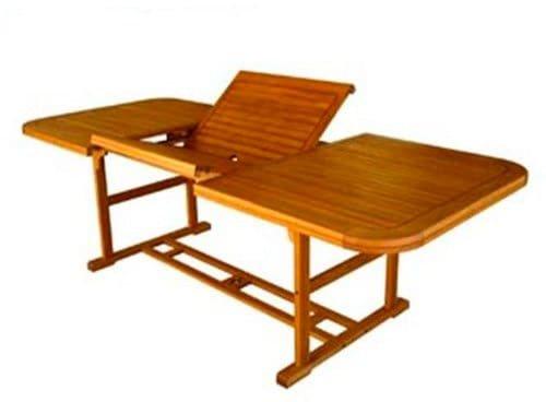 Amicasa. Mesa de jardín Extensible de Madera 150/200 x 100 Art 27 ...