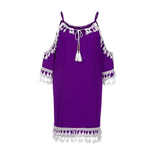 (Benficial Women Off Shoulder Dress Tassel Short Cocktail Party Beach Dresses Sundress Purple)