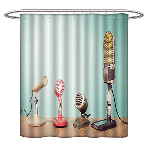- Jiahonghome Large Home Decoration Retro Mass Media Microphones for Broadcasting or Recording Front Mint Green Wall Background for Bathroom Water-Repellent Hotel Quality W 48 x L 72 INCH