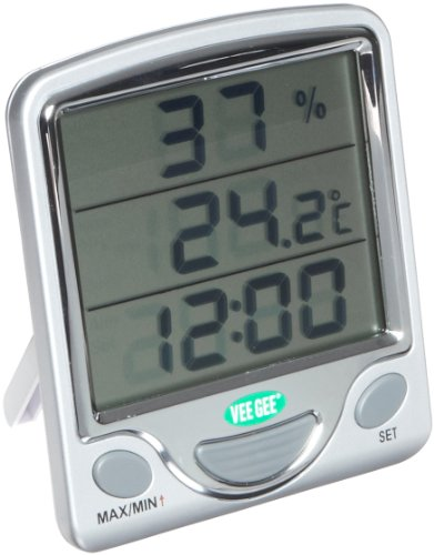 VeeGee Maximum and Minimum Digital Dual-Scale Thermometer, with Hygrometer and Clock, 0 to 50 Degree C and 32 to 122 Degree F by Vee Gee Scientific