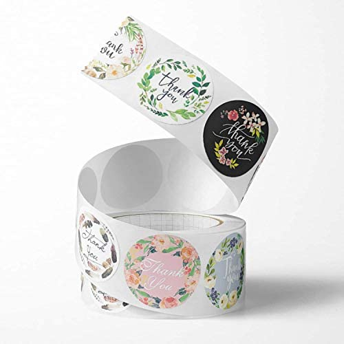 Unihom - Thank You Stickers Roll (Set of 2 1000 pcs) 2.5 cm / 1 inch Small Self Adhesive Label Roll Boutique Supplies for Business Letter Gift Packaging Customer Mailer &  Bag (8 Patterns)