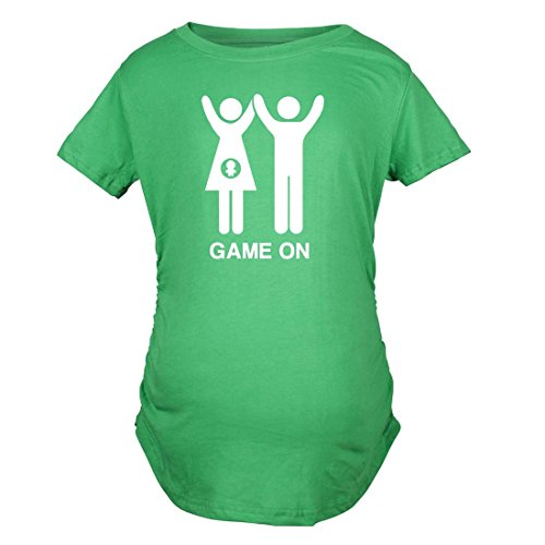 Maternity Game On Couple Tee Expecting Baby Bump Pregnancy Announcement T Shirt (Green) M by Crazy Dog T-Shirts