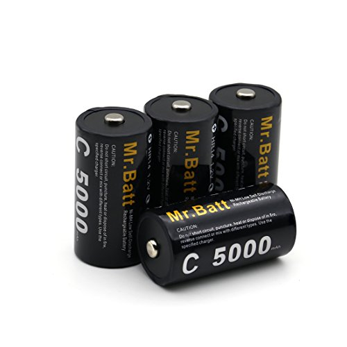 Mr.Batt 5000mAh High Capacity Ni-MH Rechargeable C Batteries
