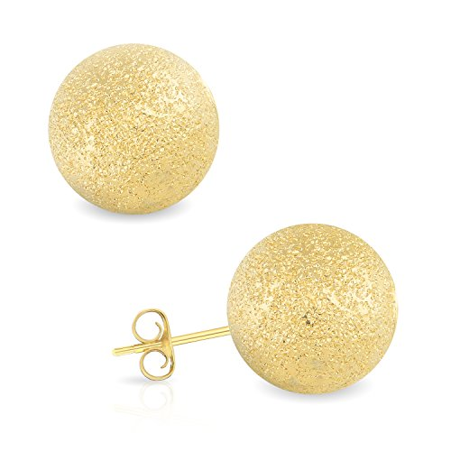 14k Yellow Gold 10MM Laser Cut Ball Stud Earrings by GotJewelry