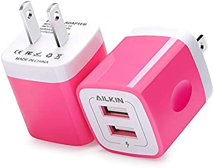 Samsung Galaxy S7//S6//S5 Edge Kindle Huawei USB Wall Charger Moto Ailkin 2-Pack 2.1Amp Dual Port Quick Charger Plug Cube Replacement for iPhone 7//6S//6S Plus//6 Plus//6//5S//5 Charger Adapter LG HTC
