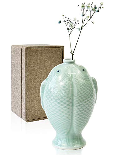 SUYADA Chinese Jingdezhen Two Fish Design Celadon Ceramic Vase Home Decor Antique - Ceramic Celadon Vase