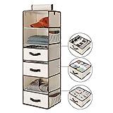 StorageWorks 6-Shelf Hanging Dresser, Foldable Closet Hanging Shelves with 2 Magic Drawers & 1 Underwear/Socks Drawer, 42.5'H x 13.6'W x 12.2'D