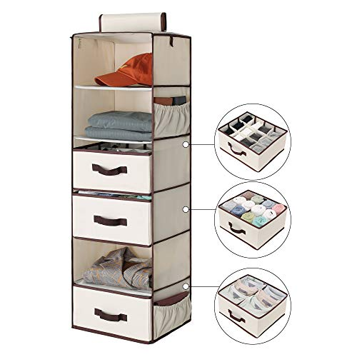 (StorageWorks 6-Shelf Hanging Dresser, Foldable Closet Hanging Shelves with 2 Magic Drawers & 1 Underwear/Socks Drawer, 42.5