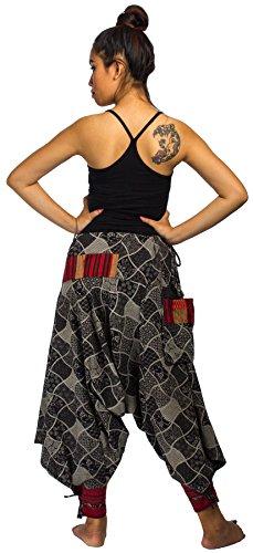 Lofbaz Mujer Pantalones que caen en la entrepierna de harén hmong de algodón Diseño # 1 Negro de la impresión de la mezcla del