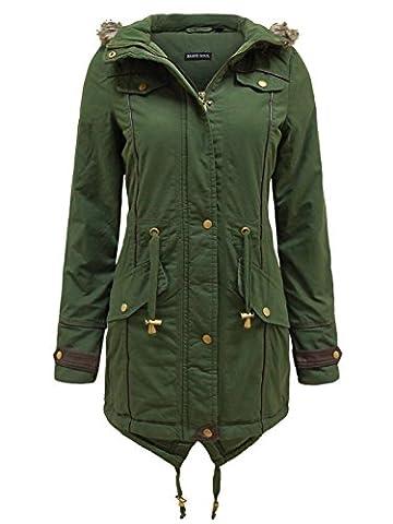 Brave Soul Women's Fur Oversized Hood Fishtail Padded Parka Coat Military Jacket [US 18] - Soul Fish