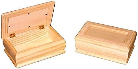Caja joyero madera. Con tapa de cristal. En crudo, para decorar. Medidas (ancho/fondo/alto): 21 * 14 * 7.5 cms.: Amazon.es: Hogar