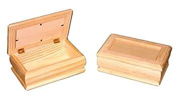 Caja joyero madera. Con tapa de cristal. En crudo, para decorar.