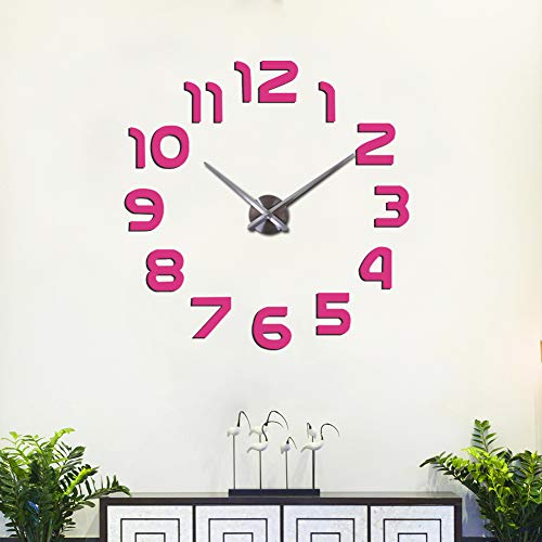 (FASHION in THE CITY 3D DIY Mirror Surface Wall Clock Large Size Wall Decorative Clocks Silent Non Ticking Movement Clock Hands (Pink))