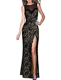 Womens Retro Flare Lace Split Side Evening Black Maxi Dress